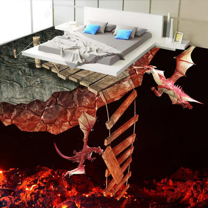 Custom Photo Wallpaper Modern Creative 3D Stereo Lava Volcano Spray Fire Dragon 3D Floor Tiles Mural PVC Waterproof Living Room