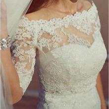 2016 Best Lace Off Shoulder Alencon Bolero Jacket Illusion Jackets Bridal Shrug Bride Wraps Wedding accessories