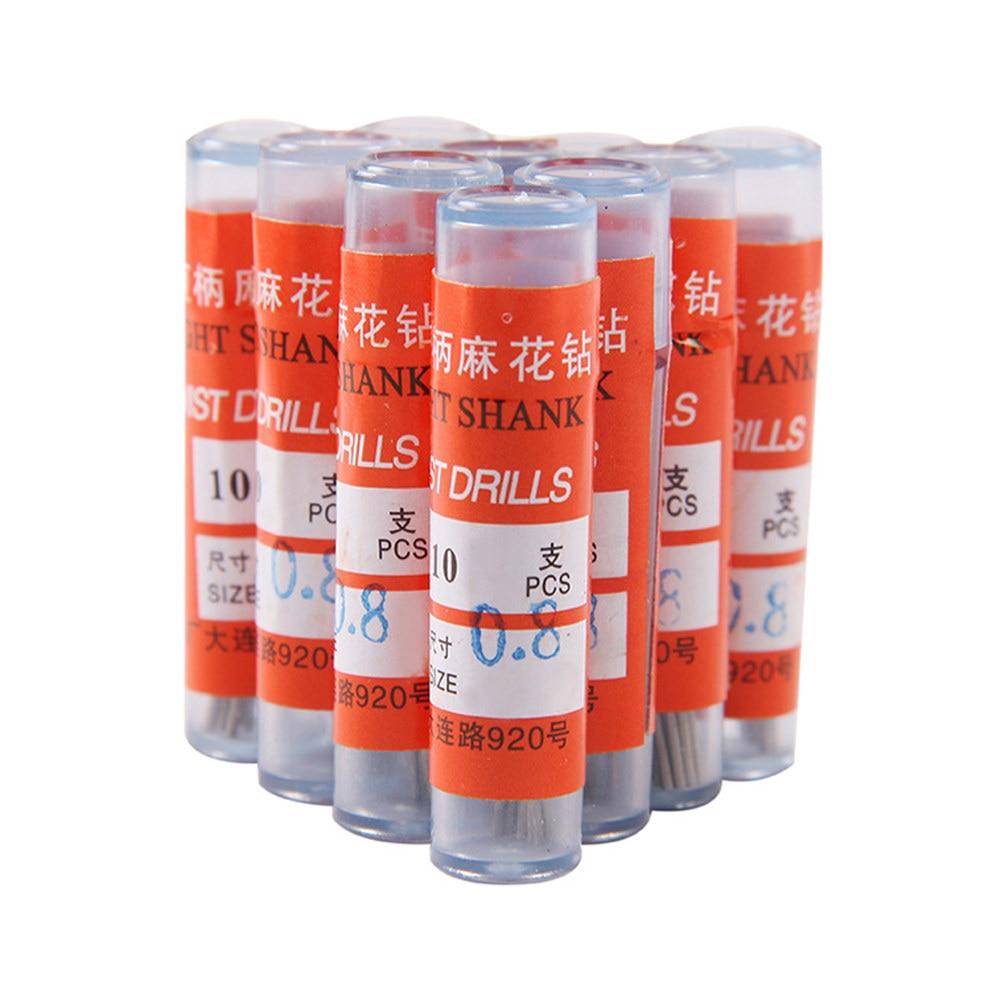 10pcs 0.5mm 0.8mm 1.0mm 2.0mm 1.2mm 1.5mm Straight Shank Twist Drill Bit HSS Little Bit Special Offer Wholesale Free Shipping