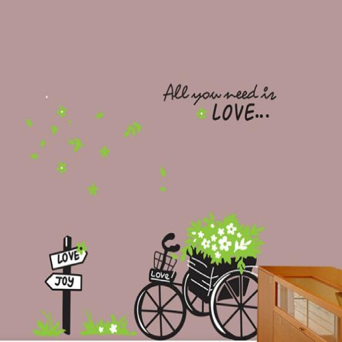 online get cheap wall sticker leaf aliexpress com alibaba group green leaves flower tricycle wall stickers for room removabl wallpaper mural diy decor china