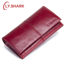 LY.SHARK red wallet women female purse genuine leather ladies walet long money bag credit card holder