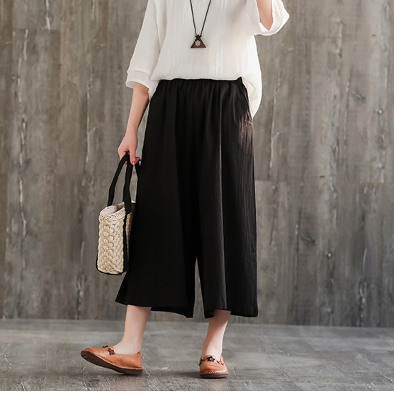 0669 Cotton Linen Pants Women Wide Leg Ankle length Vintage Trousers Ladies Loose Elastic Waist Pantalon Femme Retro Summer in Pants amp Capris from Women 39 s Clothing