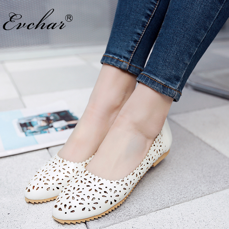 New Women's Fashion spring/autumn Shoes Women's Comfortable Breathable Round Toe Flat Heel Casual Cut-Outs Shoes Size 33-47 women s shoes 2017 summer new fashion footwear women s air network flat shoes breathable comfortable casual shoes jdt103