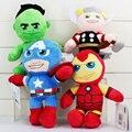 4 Unids/lote The Avengers Felpa Verde Hulk Thor Capitán América Iron Man Muñeca de Peluche Suave Juguetes de Peluche 20 cm