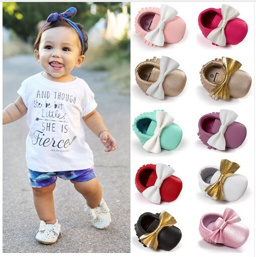 Romirus PU Leather Baby Shoes Moccasin Bow Girls Newborn Kid Shoes Soft Bottom Infants Crib Sneakers Cute First Walkers