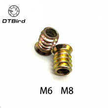 Furniture-Nuts Wood-Insert-Nut Hex-Drive-Head Thread Carbon-Steel Flanged M6 M8 for 20pcs