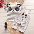 Summer new 2017 fashion high quality Boys and girls Children's clothing Strap pants and short sleeves Set 2 pieces suit Cotton