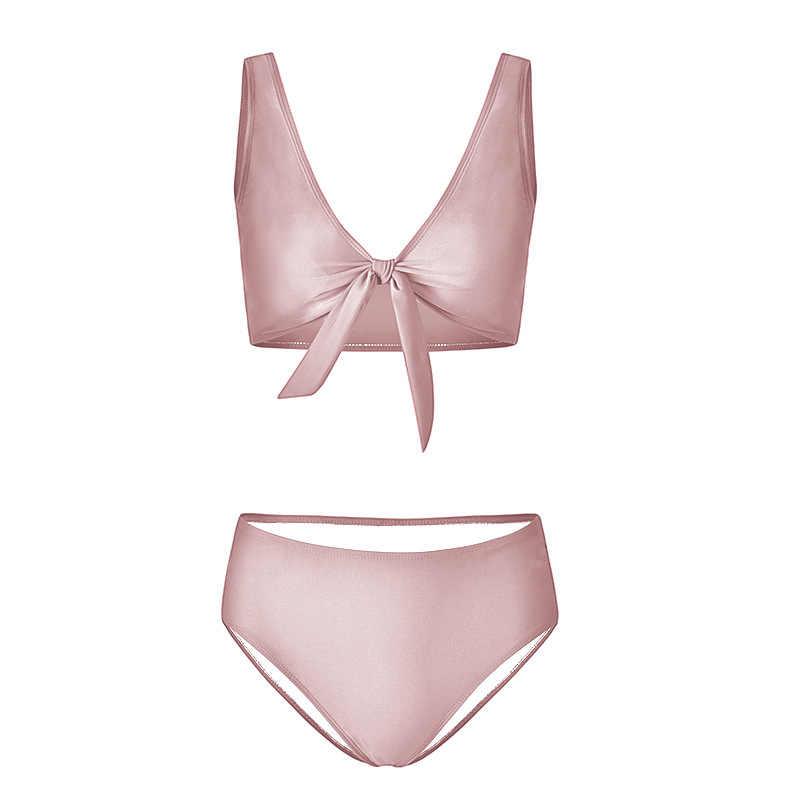2018 yeni göğüs ilmek kravat bikini düz renk iki parça çok renkli seksi yaz plaj kadın mayo