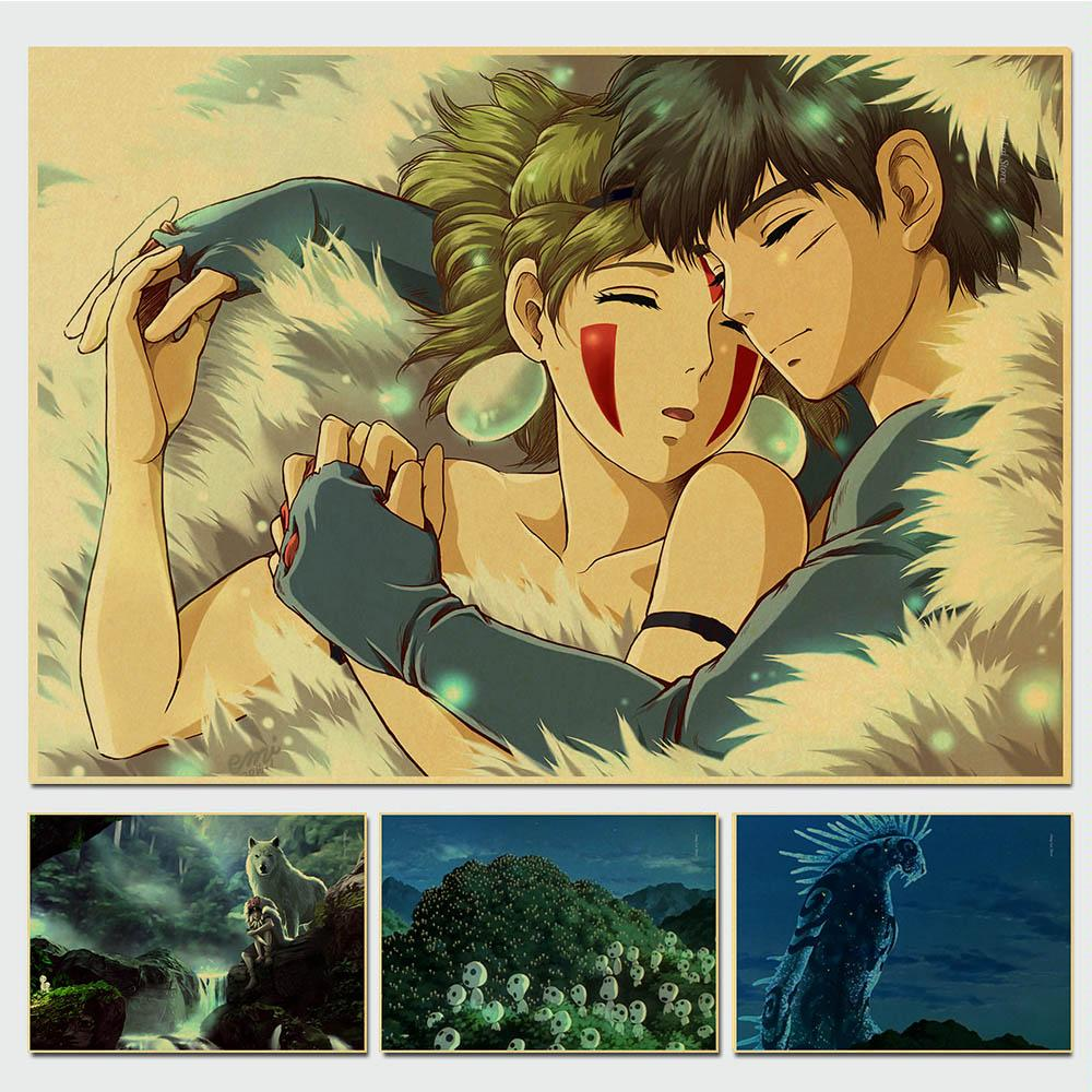 Miyazaki Hayao Princess Mononoke Retro Poster Vintage Poster Wall Decor For Home Bar Cafe For Kid Room