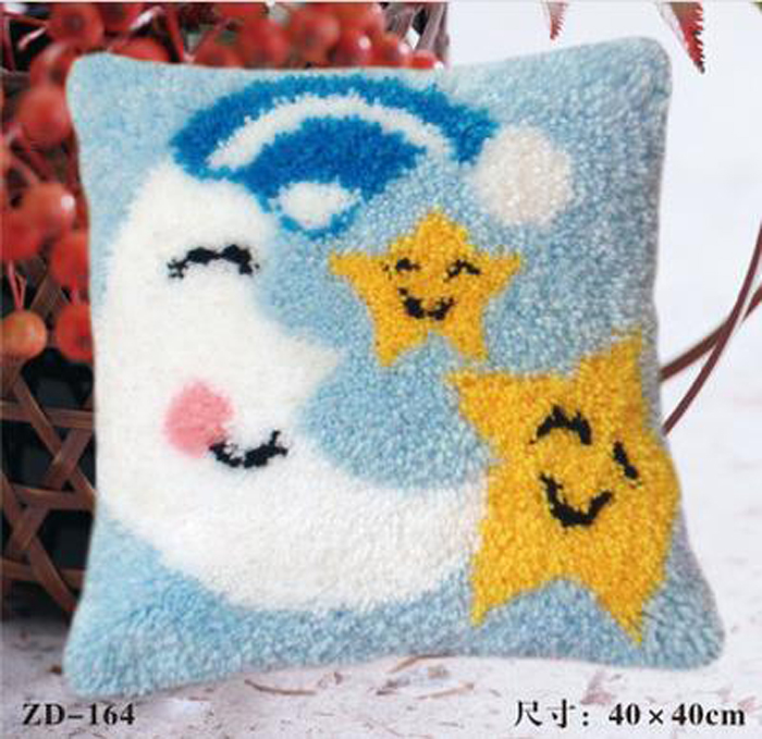 Us 14 29 50 Off Manual Diycreative Gifts Moon Stars Latch Hook Rug Kits Needlework Unfinished Pillow Yarn Cushion Embroidery Carpet In