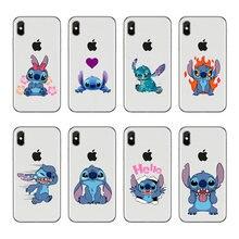 0eefc241162 Funny Cute Stitch Cartoon Emoji diseño Fundas Coque suave silicona TPU  teléfono cubierta de la PC para el iPhone 4 5S SE 6 7 8 m.