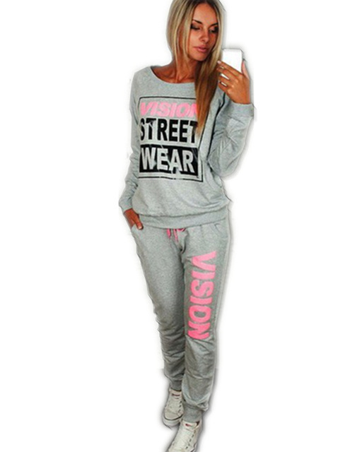 Speed sell through amazon hot box big letters printing casual outfitt suit Round collar fleece suit female