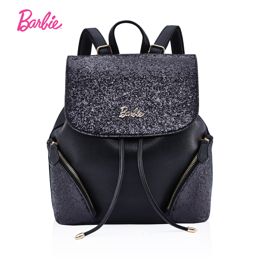 Barbie Women BackPacks soft black leather women bags flash pieces simple style Fashionable Trend Brief bags women рюкзаки zipit рюкзак shell backpacks