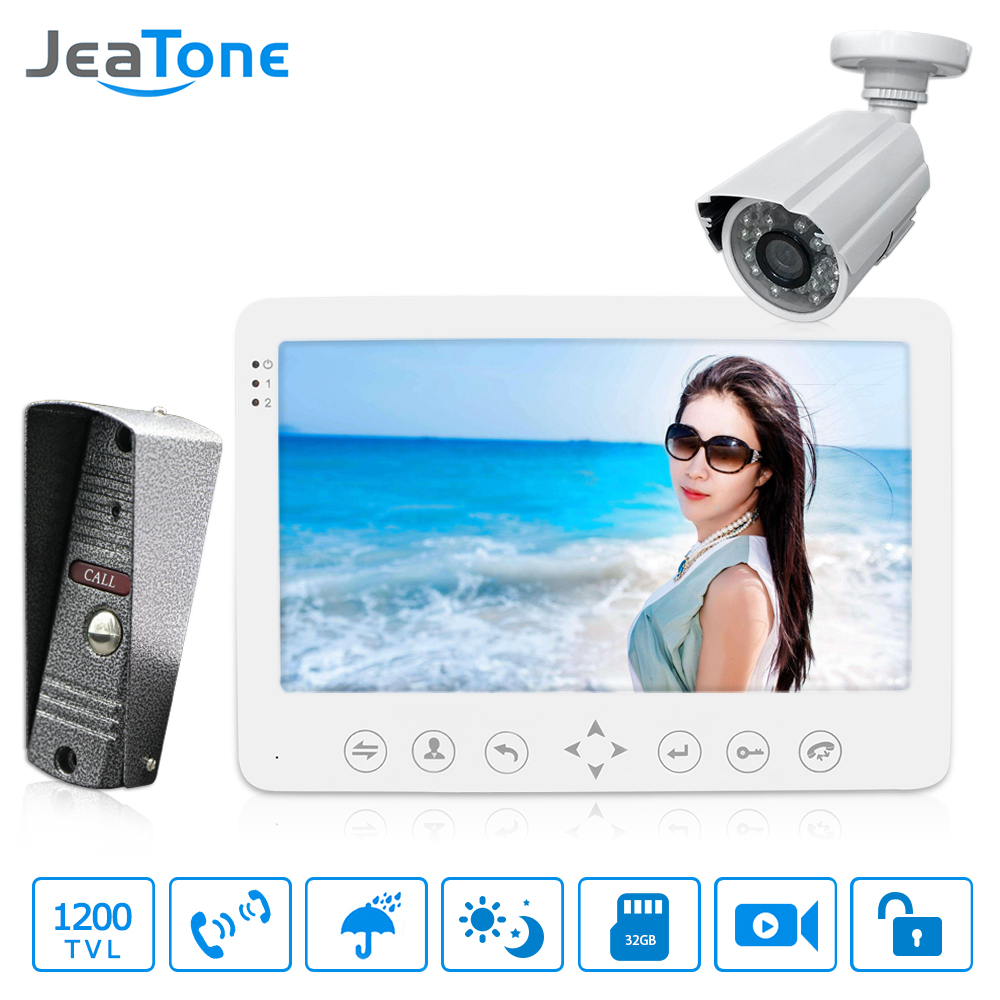 Jeatone Video Intercom 7'' HD Wired Video Doorbell  Monitor  IR Night Vision Motion Sensor For Home Security+1200TVL Camera