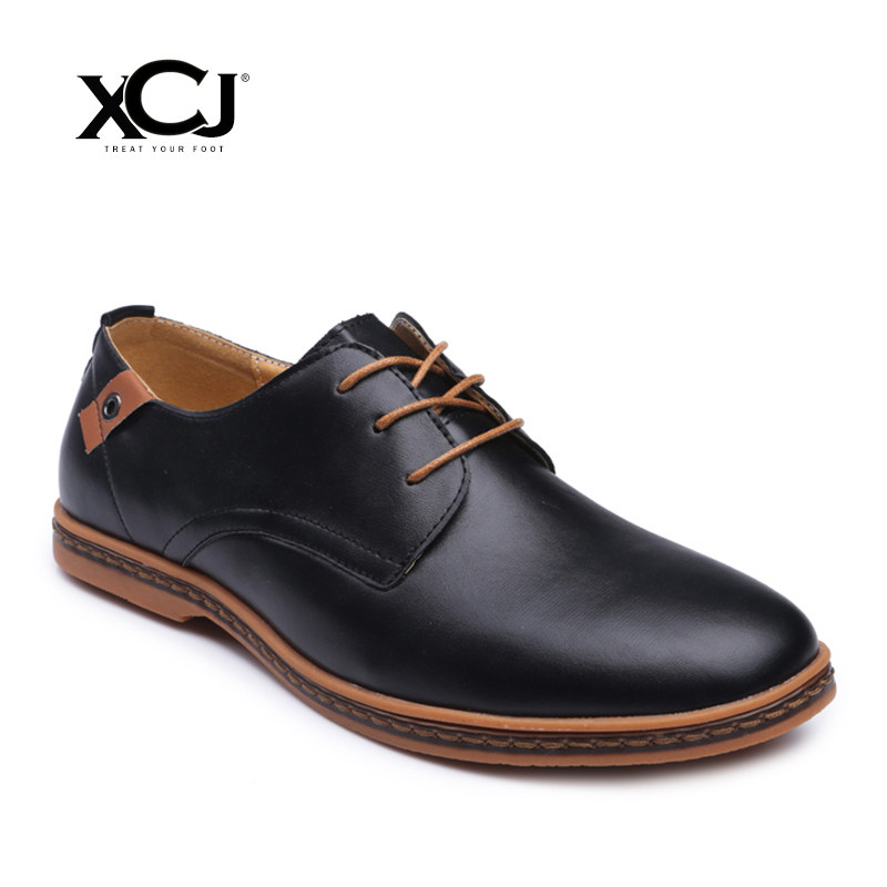 где купить XCJ Plus Big Size 47 48 Men Casual Shoes Brand Men Shoes Men Sneakers Spring Autumn Genuine Split Leather Men Flats Slip On по лучшей цене