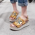 Sandals Genuine Leather new Woman's shoes high heel 5.5CM Platform 2.5CM Female summer EUR Size 34-39
