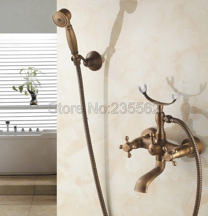 Bathroom Antique Brass Wall Mounted Bathtub Faucet Dual Cross Handle Shower Mixer Tap with Handheld Shower Spray ltf155 купить недорого в Москве