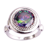 Fashion Jewelry Classic  Mysterious Rainbow CZ  Silver Color Ring Size  7 8 9 10  Women Gift  Wholesale
