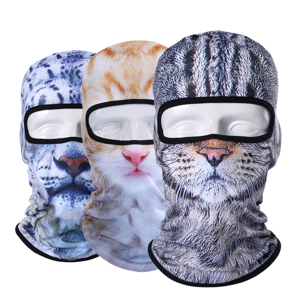 3D Katze Hund Tier Balaclava Fahrrad Bike Snowboard Party Skullies Beanie Helm Liner Winter Hut Wärmer Volle Gesicht Maske Frauen männer