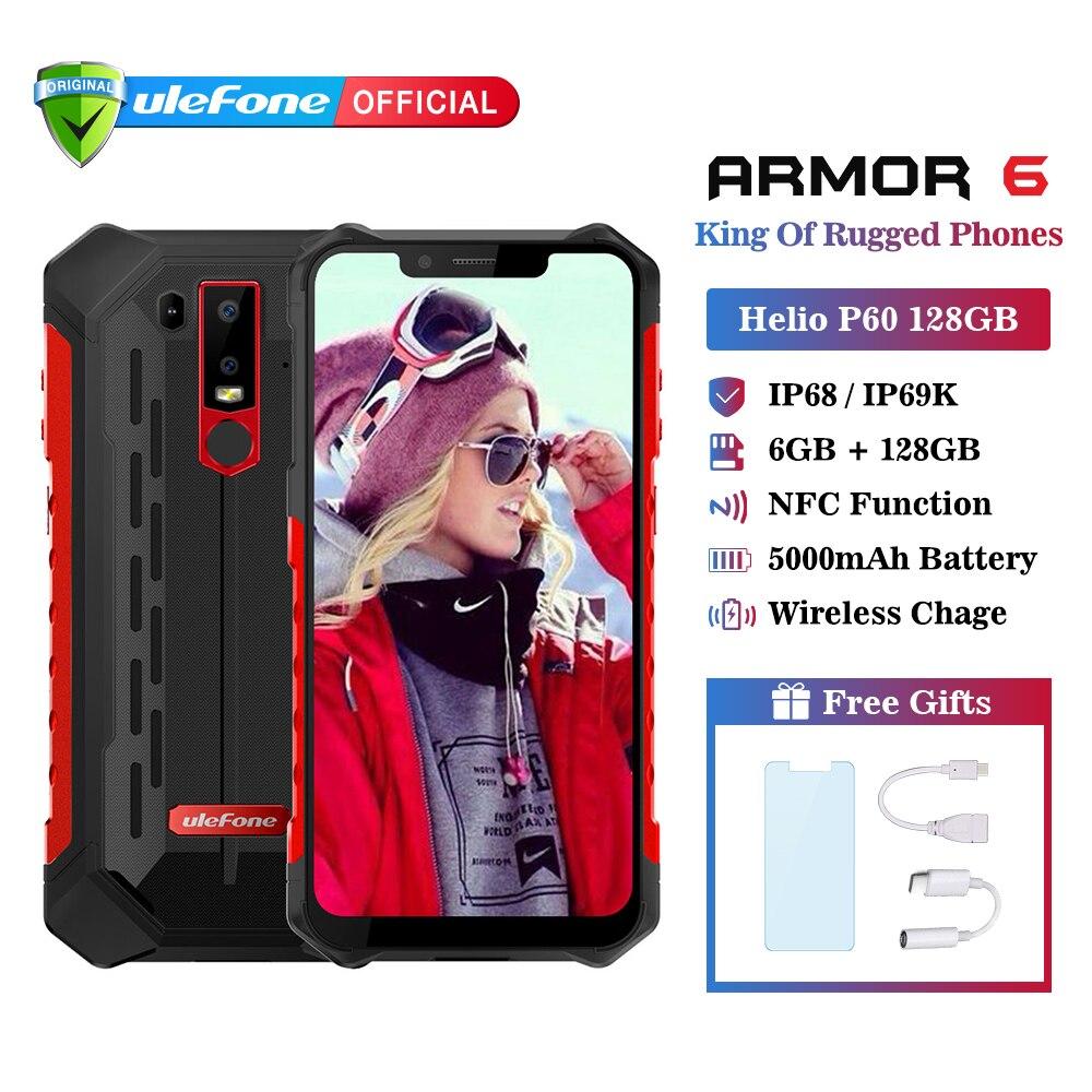 Ulefone Armadura 6 IP68 Telefone Celular À Prova D' Água Android 8.1 Helio P60 6 GB 128 GB Face ID NFC Octa Núcleo IP69K Smartphones Acidentado