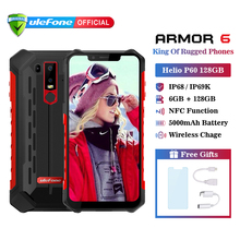 Ulefone Armor 6 IP68 Waterproof Mobile Phone Android 8.1 Helio P60 Octa Core 6GB 128GB Face ID NFC IP69K Rugged Smartphone