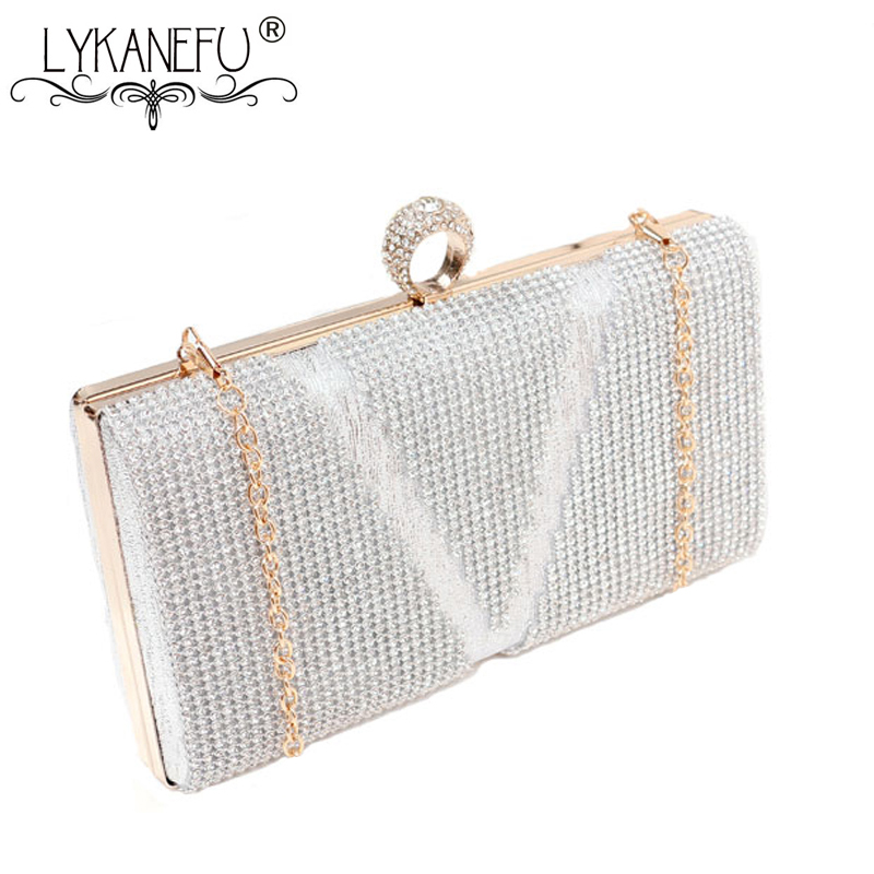 LYKANEFU Luxury Women Evening Bags Frame Day Clutches Chain Shoulder Hand Bags For Party Wedding Purse Box Clutch Bag for Phone