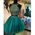 New duas peças vestidos homecoming sparkly frisada curto 8ª série graduação formal wear vestido plissados sweet 15 curto vestido de festa