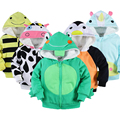 Cotton Material Cartoon Animal Print Baby Girls Boys Thick Fleece Coat Winter Jacket Outerwear Baby Infant Hooded Clothing