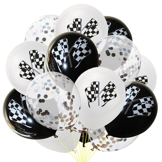 Black White Racing Flag Latex Balloons Checkered Race Car Themed Party Gold Confetti Balloons Kids Happy Birthday Party Supplies
