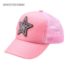2019 Spring And Summer New Childrens Hat Solid Color Duck Tongue Net Cap Patch Five-Pointed Star Boy Girl Baseball Caps kid