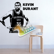 Free shipping diy vinyl basketball wall stickers The Oklahoma city thunder team star Kevin durant children room decor