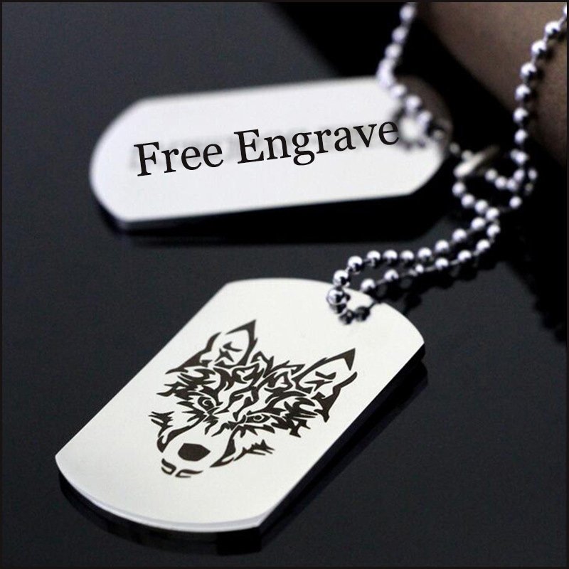 Free Engrave Dog Tag Custom Customized Pendant Necklaces Stainless Steel Military Army ID Tag Necklace for Boyfriend Girlfriend vnox personalized id necklace pendant stainless steel silicone dog tag jewelry provide engrave record servise
