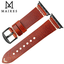 MAIKES Orange Genuine Leather For Apple Watch Accessories Strap 38mm 42mm Apple Watch band series 3 2 1 iWatch Strap Bracelets