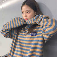 2019 Korean Ulzzang O-Neck Striped T-shirt Women Casual Long Sleeve Kawaii Plus Size T Shirt Female Oversized Vogue Tops Tee