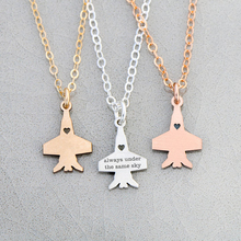 2018 Exquisite Copper Military Gift Airplane Necklace Engrave Some Letters Accept Drop Shipping YP6043