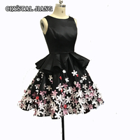 Little Black Dresses 2018 Prom Real Image Bridesmaid Gown With 3D Flowers