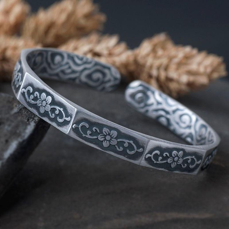 999 Sterling Silver Cuff Bangle Bracelet Retro Flower Silver Bracelet. все цены
