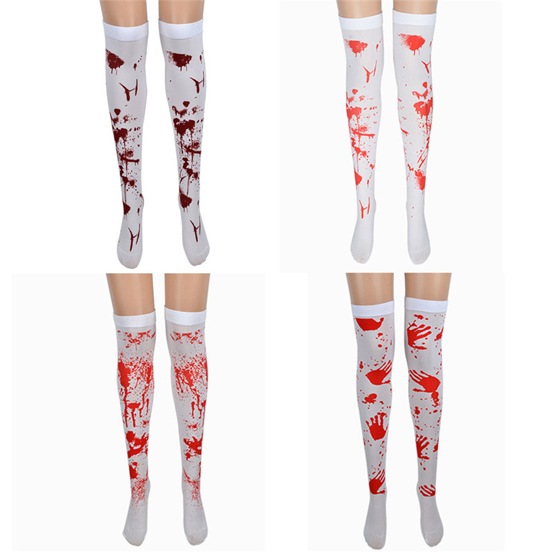Takerlama Halloween Girls Knee High Socks Blood Printed Stockings Over The Knee Thigh High Socks Sexy Festival Accessories