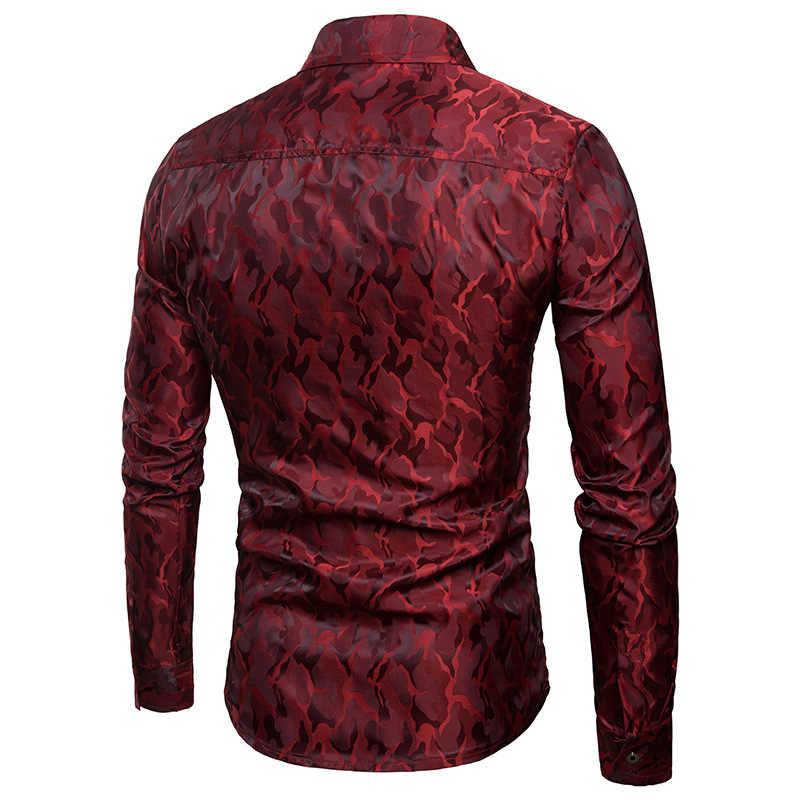 Истинный ревеллер для мужчин рубашки яркие цвета ночной клуб камуфляжная рубашка дизайн шелковой ткани модные лацканы мужчин с длинным рукавом хип хоп рубашка