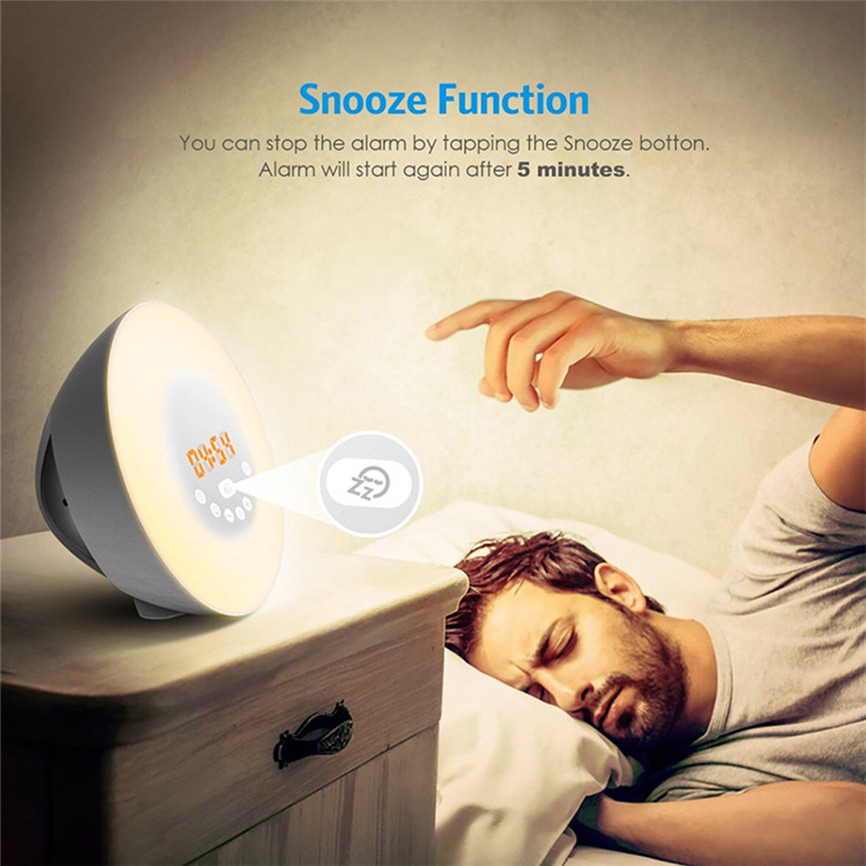 Super New Arrival USB Wake Up Light Sunrise Sunset Simulation Alarm Clock 7 Colors Atmosphere Lamp Dropshipping A35 wake up night light alarm clock sunrise simulation dusk fading night light with nature sounds fm radio touch control usb charger