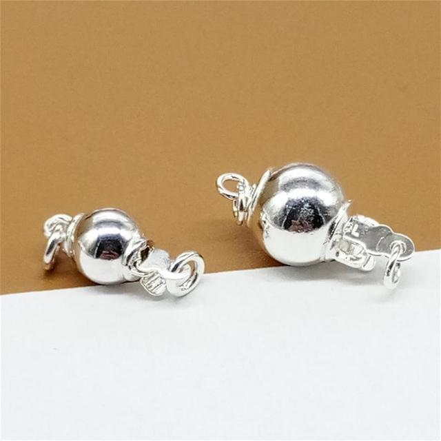 10pcs Genuine 925 sterling silver pearl closure,bracelet necklace clasp, silver jewelry connector, 6mm Round ball Box clasp