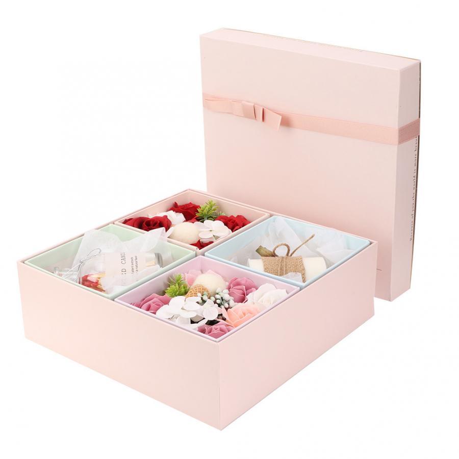 Fait à la main Rose fleur savon parfumé bougie boîte cadeau romantique pour couture Bouquet multicolore