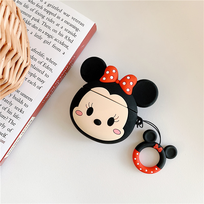 Image 2 - 3D cartoon Mickey Minnie Mouse Soft Silicone Earphone Case For Apple AirPods 1 2 Protection Wireless Bluetooth Headset Cover-in Earphone Accessories from Consumer Electronics