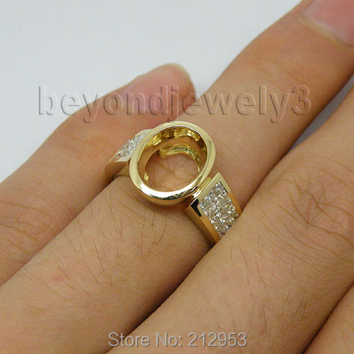Vintage Unique 14Kt Yellow Gold Oval Ring Design 8x10mm Natural Princess Diamond Semi Mount Ring