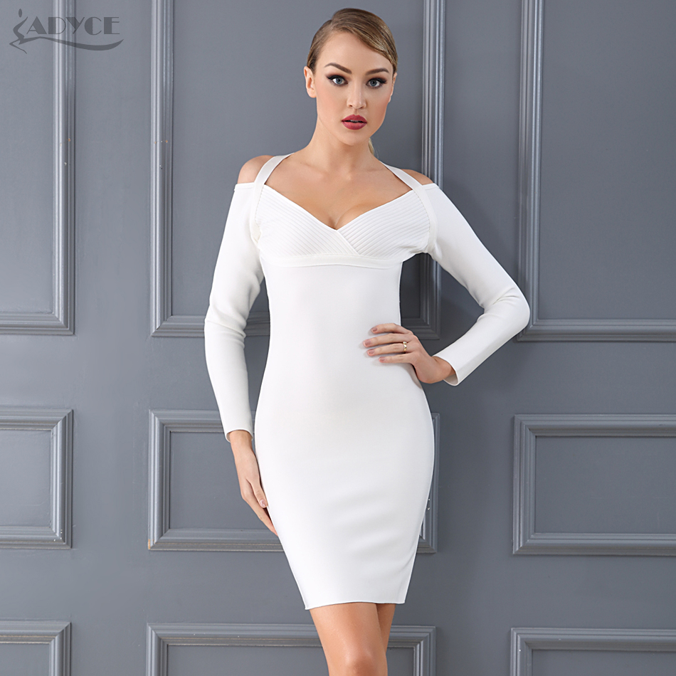 Adyce 2019 New Winter Bandage Dress White Black Halter Long Sleeve Sexy Women Midi Celebrity Evening
