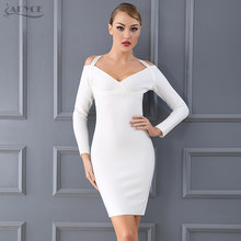 45900ce12 Adyce 2018 nuevo vestido del vendaje de la llegada Chic Halter negro blanco manga  larga mujeres Sexy celebridad vestido de fiest.