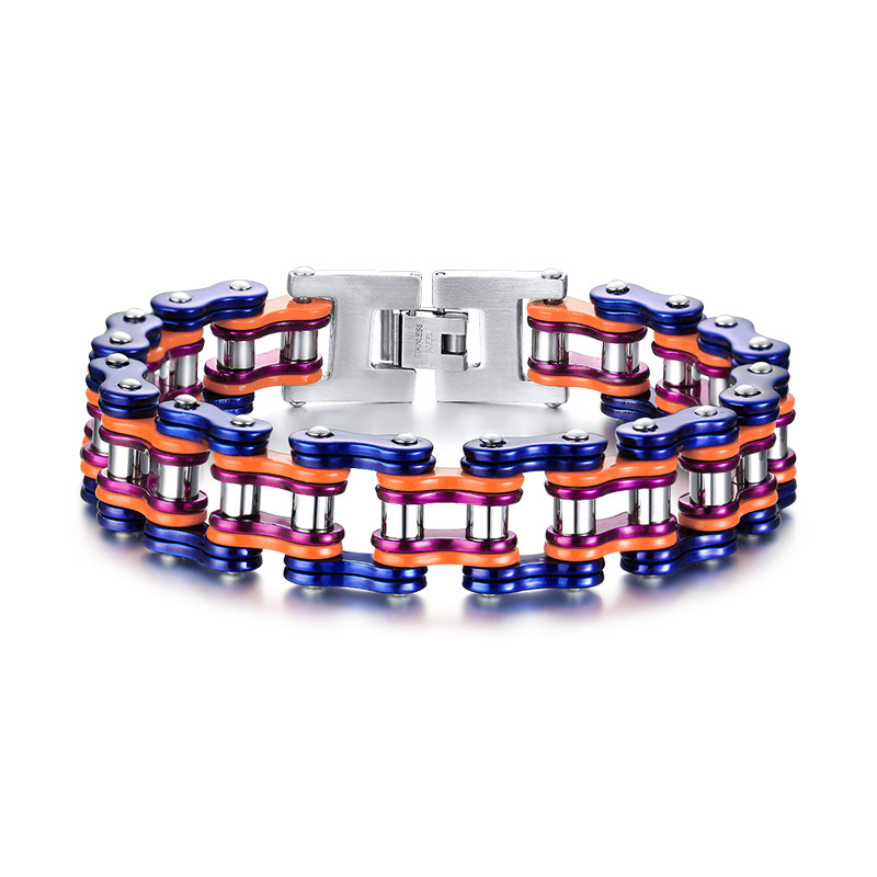 Men 39 s Titanium Stainless Steel Large and Heavy Biker Bicycle Chain Bracelet in Chain amp Link Bracelets from Jewelry amp Accessories