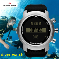 North Edge Men's Diver Watches Waterproof 100m Smart Digital Watch Sport Military Diving Watch Altimeter Barometer Smartwatch