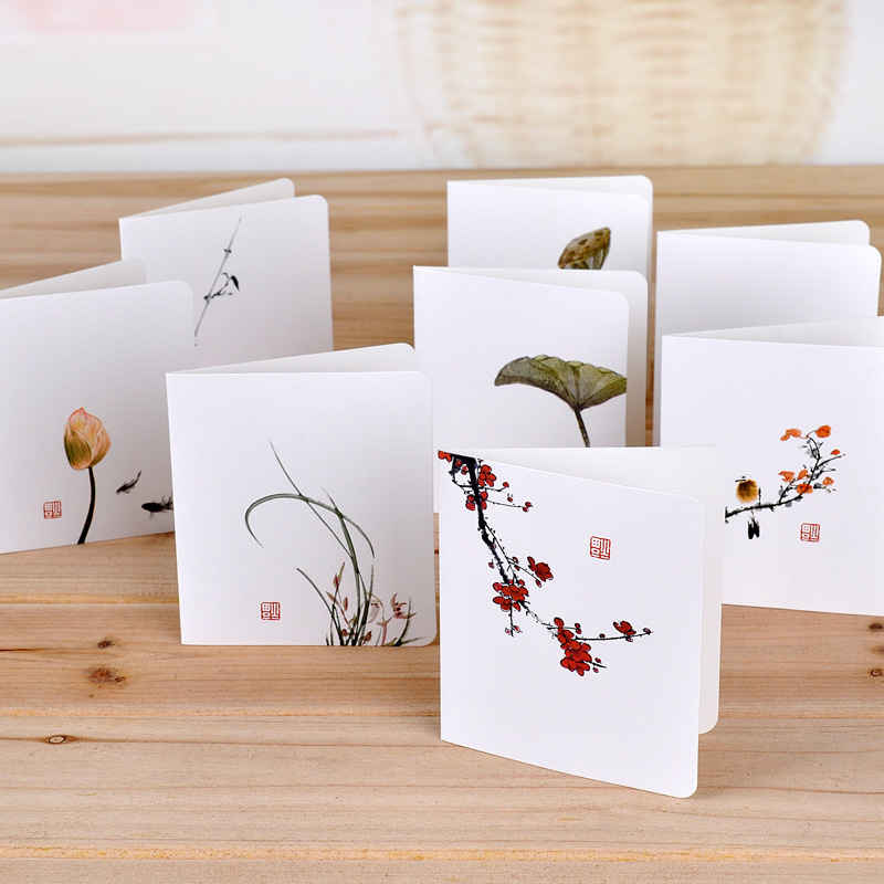 2Pcs/Lot Beautiful Chinese Painting Lotus Mini Greeting Card Postcard Birthday Letter Envelope Gift Card Set Message Card E0390