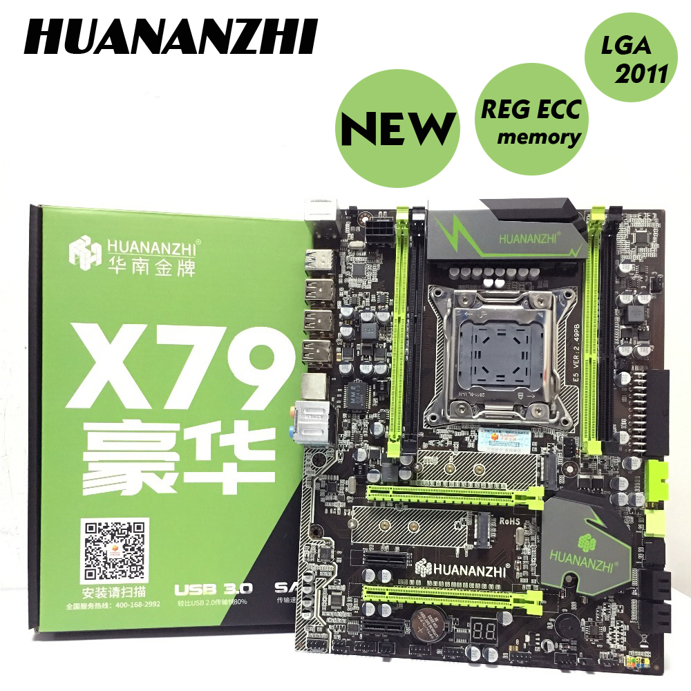 US $85 0 15% OFF|HUANAN golden V2 49 X79 motherboard LGA2011 ATX USB3 0  SATA3 PCI E NVME M 2 SSD port support 4 x 16G memory tested-in Motherboards